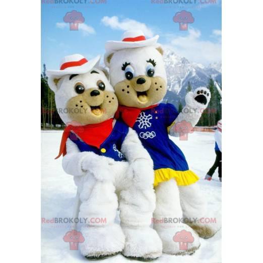 2 maskoti ledních medvědů oblečeni jako kovbojové -