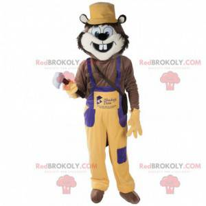 Funny animal rodent mascot with overalls - Redbrokoly.com