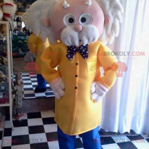 Very elegant grandpa mascot with a jacket and a bow tie -