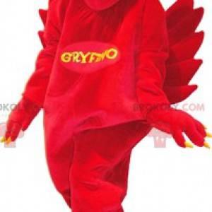 Maskot červený a žlutý griffin. Červený a žlutý pták -
