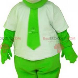 Zelený medvěd maskot oblečený v bílém s kravatou -