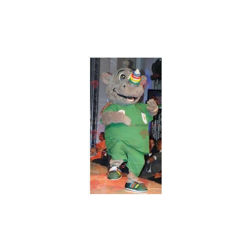 Smiling gray rhino mascot - Redbrokoly.com