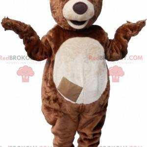 Brown and white teddy bear mascot with a crest - Redbrokoly.com