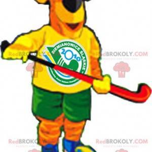 Orange und gelbes Hundemaskottchen in der Hockeyausrüstung -