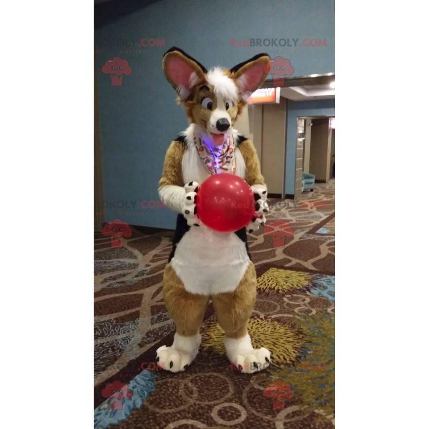 Hnědý pes maskot bílá a černá - Redbrokoly.com