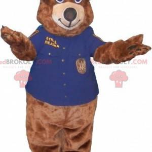 Brown bear mascot dressed in police uniform - Redbrokoly.com
