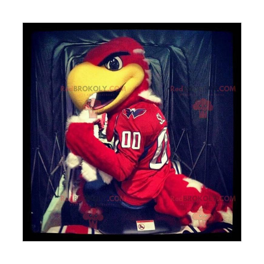 Obří červený a žlutý orel maskot - Redbrokoly.com
