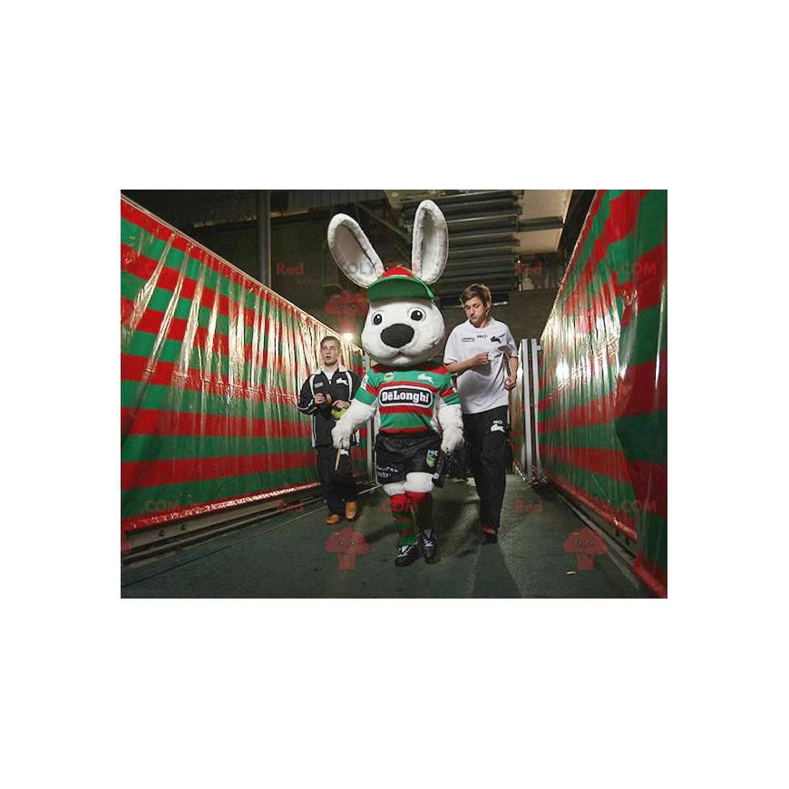 Large white rabbit mascot in sportswear - Redbrokoly.com