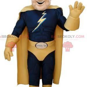 Superheltmaskot i blått og gult antrekk - Redbrokoly.com