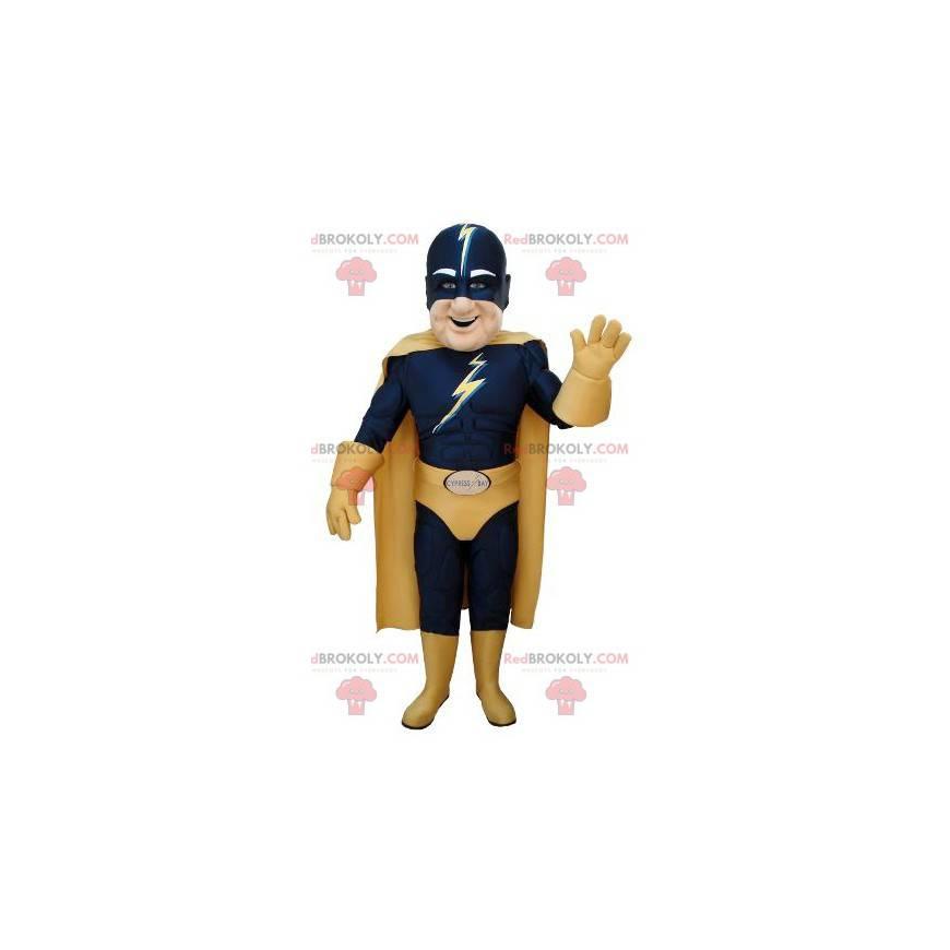 Maskot superhrdiny v modrém a žlutém oblečení - Redbrokoly.com