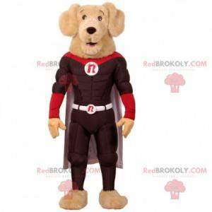 Velmi svalnatý psí maskot v oblečení superhrdiny -