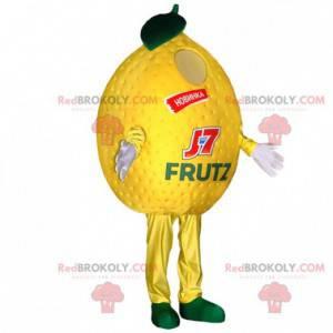 Riesiges gelbes Zitronenmaskottchen. Fruchtmaskottchen -