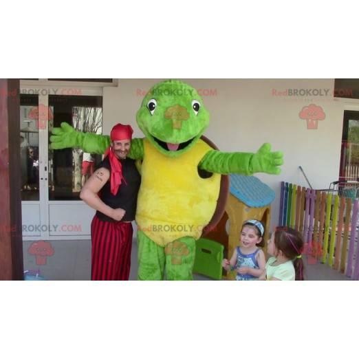 Maskottchen grüne Schildkröte gelb und braun - Franklin