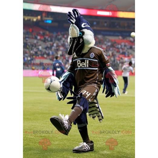 Blue white and black bird mascot in brown outfit -