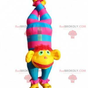 Maskot nafukovací cirkusové opice s hlavou vzhůru nohama -