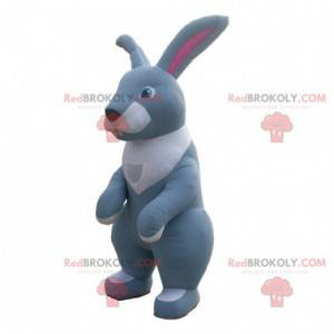 Giant gray and white inflatable rabbit mascot - Redbrokoly.com