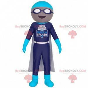Schwimmer Maskottchen mit Brille und Umhang - Redbrokoly.com