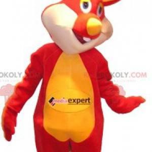 Rotes und gelbes Kaninchenmaskottchen. Häschenkostüm -