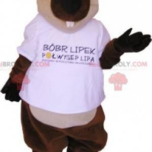 Mascot giant brown and white beaver. Rodent mascot -