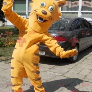 Sehr lustiges orange Katzenmaskottchen. Katzenmaskottchen -