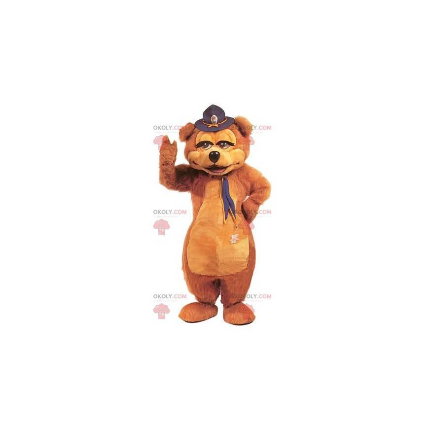 Braunbärenmaskottchen mit einem Hut auf dem Kopf -