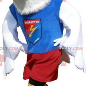 Eagle mascot dressed in a sports outfit. Bird mascot -