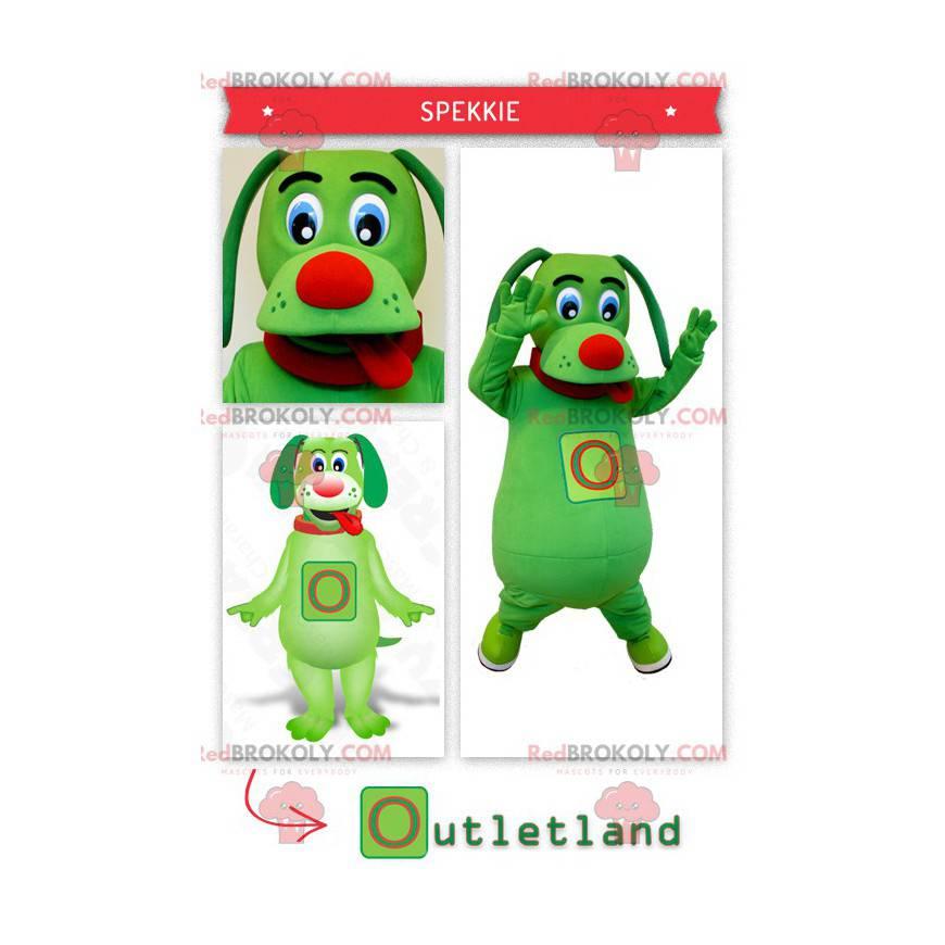 Zelený pes maskot trčí jazyk - Redbrokoly.com