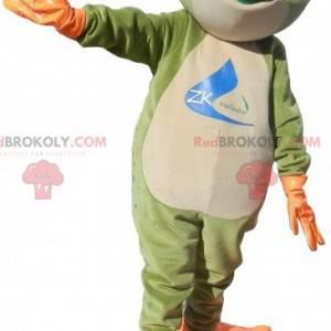 Orange und weißgrünes Froschmaskottchen - Redbrokoly.com