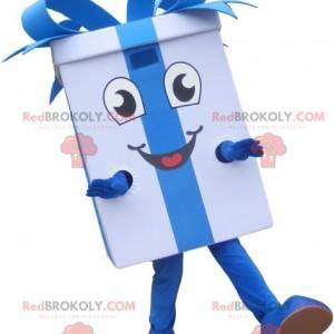 Bílý dárkový maskot s modrou stužkou - Redbrokoly.com