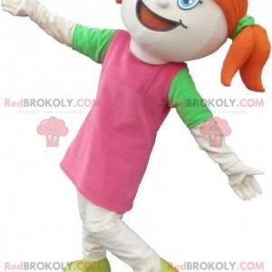 Rusovlasá dívka maskot oblečený v růžové s přikrývkami -