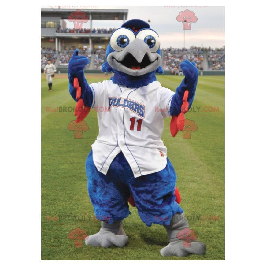 Blue and red bird mascot in white outfit - Redbrokoly.com