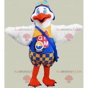 Maskot bílý a oranžový pták - Redbrokoly.com