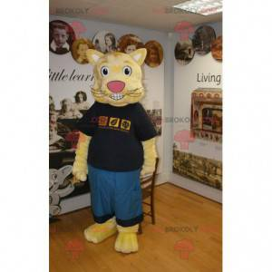 Yellow cat mascot in blue and black outfit - Redbrokoly.com