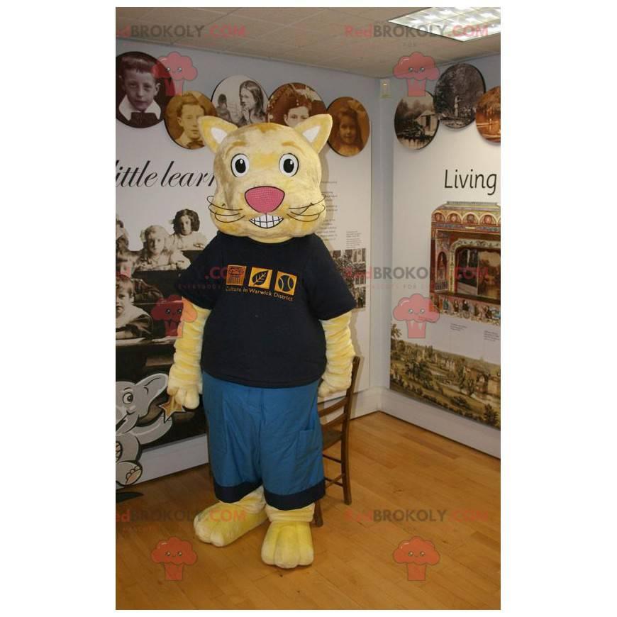 Žlutá kočka maskot v modré a černé oblečení - Redbrokoly.com