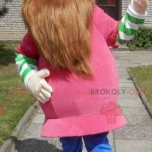Bärtiges Wikinger-Maskottchen in Rosa gekleidet - Redbrokoly.com