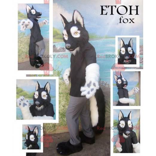Černý a bílý vlk maskot - Redbrokoly.com