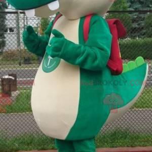 Zelený krokodýlí maskot s kapitánskou čepicí - Redbrokoly.com