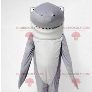 Úžasný a zábavný maskot šedého a bílého žraloka - Redbrokoly.com