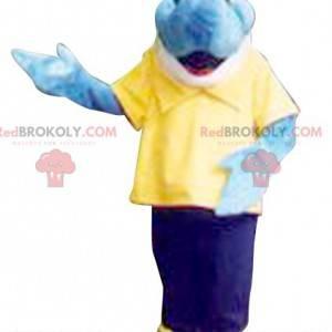 Blue and white fish mascot. Dolphin mascot - Redbrokoly.com