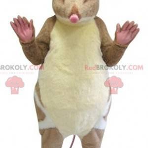 Bardzo realistyczna brązowo-biała maskotka myszy gryzonia -