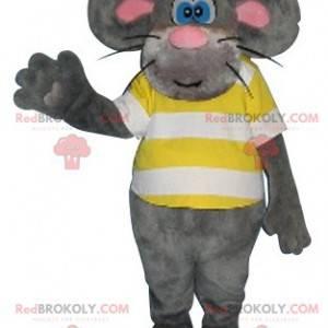 Šedý myší maskot s pěkně modrýma očima - Redbrokoly.com