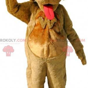 Hnědý pes maskot s velkým jazykem - Redbrokoly.com