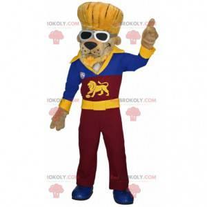 Lion dog mascot dressed as a rocker - Redbrokoly.com