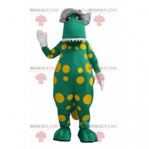 Green dinosaur mascot with yellow dots - Redbrokoly.com