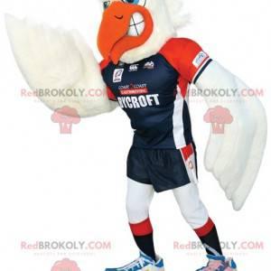 Maskotka biała mewa w odzieży sportowej - Redbrokoly.com