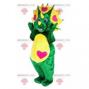 Grünes und gelbes Dinosauriermaskottchen mit Herzen -