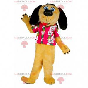 Żółto-czarna maskotka psa ubrana w hawajską koszulę -