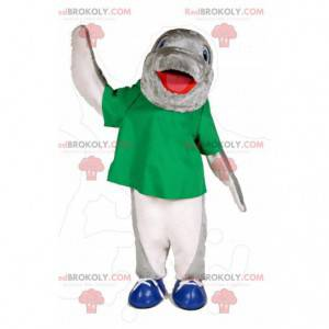 Gray and white dolphin mascot with a green t-shirt -