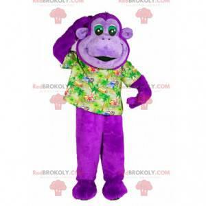Maskot fialové opice s košili rekreanta - Redbrokoly.com