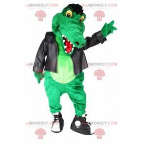 Grünes Krokodilmaskottchen im Rocker-Outfit - Redbrokoly.com